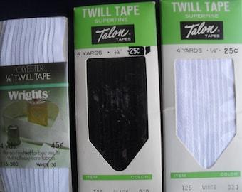 Twill Tape Seam Binding White Black