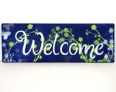 Welcome sign, wooden welcome sign, entry sign, Welcome, hand painted wooden sign, blue, home decor