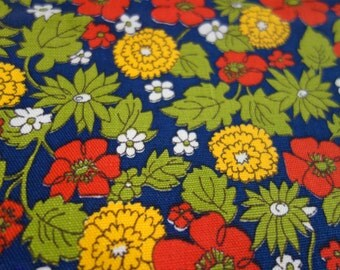 Navy Floral Canvas, One Yard of Navy Canvas Fabric with Red, White, Yellow, Lime Green Flowers and Leaves, Perfect for Small Project or Two