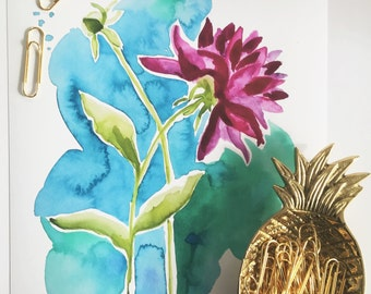 Watercolor Floral Art Print, Wall Art, Flower Painting, Dahlia Art, Home Decor, Botanical Print, Flower Print