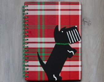 Scottish Terrier Festive Journal Notebook Hand Painted