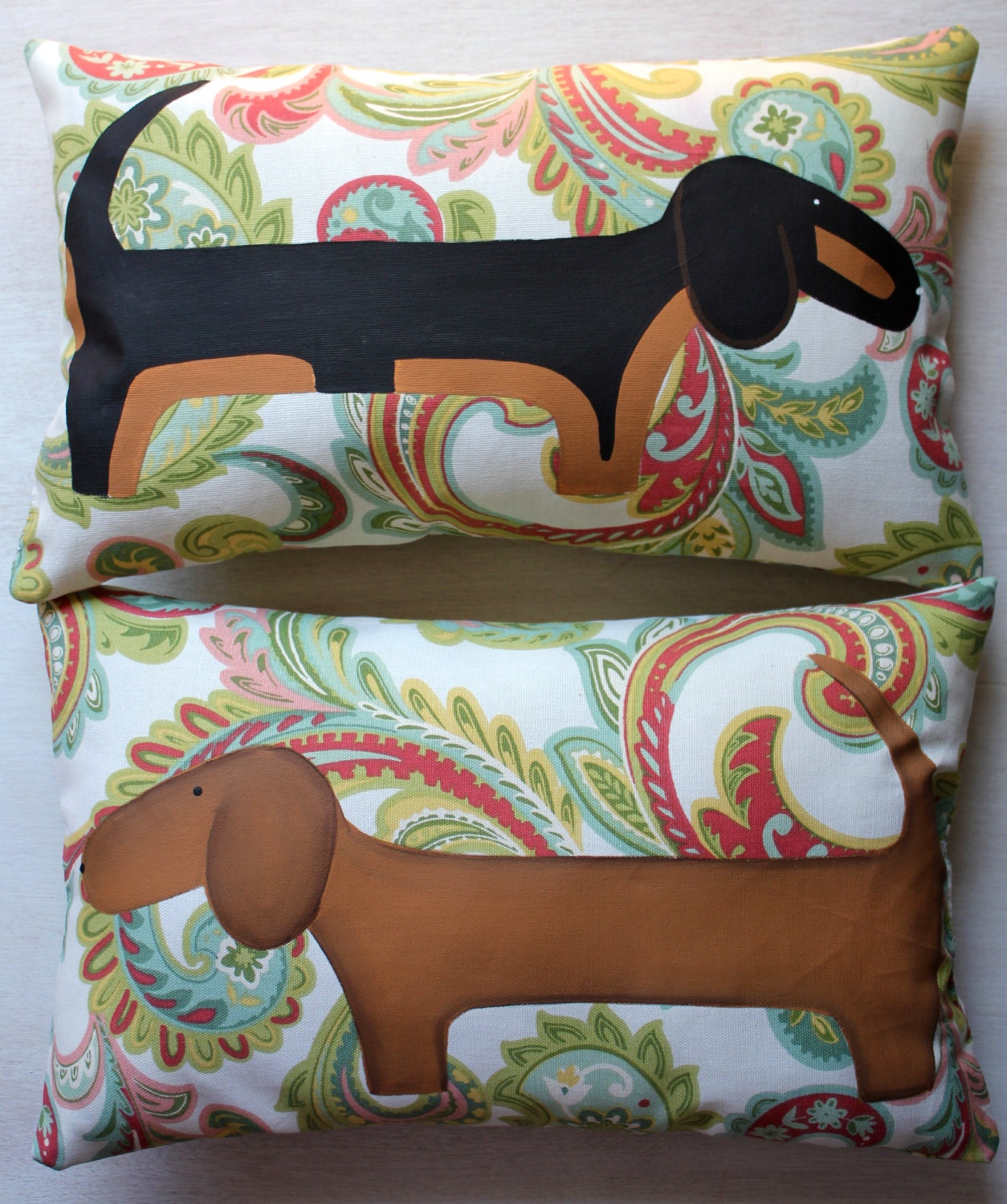 Dachshund set of two hand painted pillows for Hand painted pillows