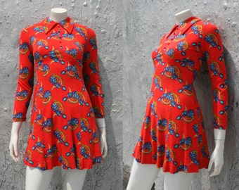 Vintage Biba Style Mini Dress / Orange Floral Psychedelic Glam '60s '70s Dress / Mod Scooter Dress / Long Sleeve Dress / Size XS