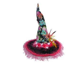 "Witch Hat, Witch's Costume Hat, Burlesque Witch Hat, Witch's Tea Party, Luau Witch Hat in Hawaiian Print -  ""Happy Hallo-Aloha-Ween"""