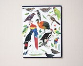Original Paper Collage on Book Cover - Birds and Leaves - Free Shipping