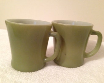 Vintage Fire King Avacado D Handle Mugs Set of 2