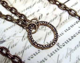 Infinity Circle Pendant Necklace Plus EXTRA Long Layered Chain, Antique Bronze Brass, 18 Inches, Adjustable,  and 36 Inches for Layering