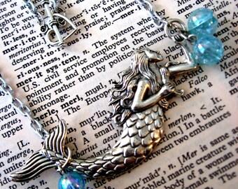 Mermaid Charm  Necklace, Nautical Jewelry, Ocean Jewelry Necklace, Beach Jewelry, Mermaid Fantasy Jewelry, Heart Necklace, Heart Jewelry