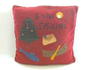 Tasha Polizzi Western Gone Fishing Pillow, Vintage T.P Saddle Blanket & Trading Co. Pillow, Denim Applique Pillow