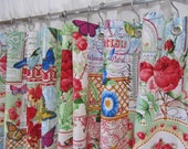 Shabby Chic Shower Curtain, Bird Home Decor, French Country, Script, Cottage Chic, Red Blue Green, Bright Bird Bathroom Accessories