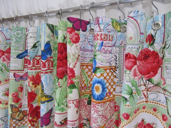 Shabby chic shower curtain bird home decor by for Bird themed bathroom accessories