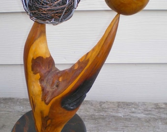 Yew Wood and Wire Abstract Sculpture