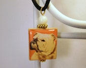 ENGLISH BULLDOG Dog Jewelry / Scrabble Pendant / Necklace with Cord / Charm