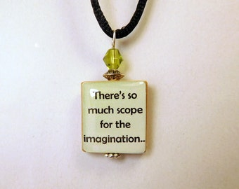 ANNE of GREEN GABLES Quote Scrabble Pendant / Scope for the Imagination / Beaded / Charm / Book Lover Gift / with Cord