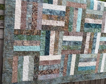 Batik quilt blue teal brown tan beachy color rail fence design sandpiper hoffman fabrics quiltsy handmade