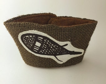 Snowshoeing Winter Coffee/Beer Cozy with Gift Card Holder Option Maine Made