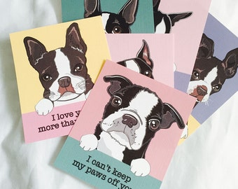 Boston Terrier Valentines - Mini Eco-friendly Set of 6