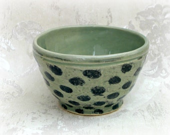 Decorative Bowl in Celadon with Black Dots - Second