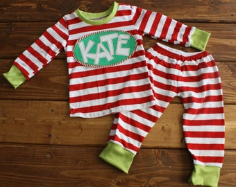 Christmas Pajamas, Kids Christmas Pajamas, Monogram Shirt, Striped Pajamas, Family Pajamas, Personalized Pajamas, Family Photos