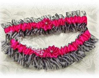 Bridal garter set, hot pink and zebra print wedding garters, animal print wedding accessories