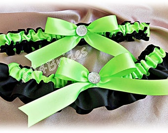 Neon Green and Black weddings bridal garters, keepsake and toss garter set