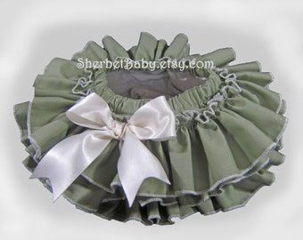Sage and Ivory All Around Ruffle Bloomer Skirt Tutu with Bow Girl Baby Toddler
