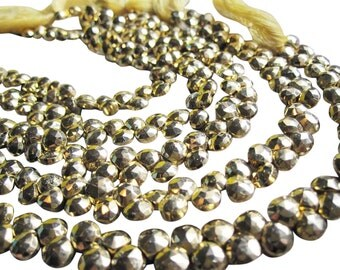 Gold Pyrite Beads Briolettes, Luxe AAA, Gold Gemstone, SKU 2841