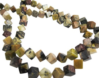 Yellow Turquoise Beads, Yellow Turquoise, Cubes, 8mm, SKU 4717