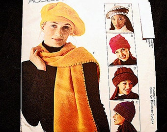 McCalls Womens Fleece Hat Pattern 6 styles Fleece Hats Scarf Blanket Tote Sewing Pattern