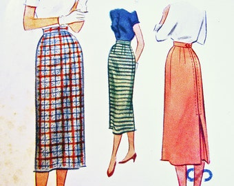 1950s Skirt Pattern McCalls Misses size Waist 28 Womens Slim Skirt Vintage Sewing Pattern 50s