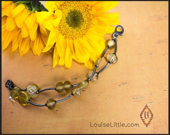 Handmade Lampwork Bead Bracelet - Sterling silver bracelet -