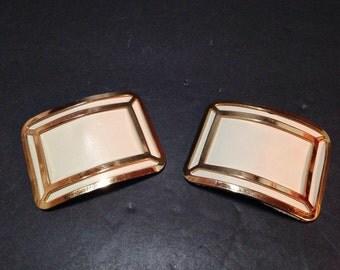 Vintage Beige & Gold Shoe Clips Shoe Accessories Embellishments