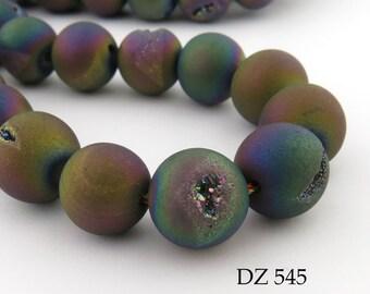 12mm Rainbow Druzy Agate Geode Beads Matte Blue Purple Blue (DZ 545) 12 pcs BlueEchoBeads