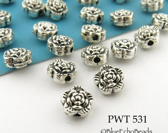 6mm Mini Flower Pewter Beads Antique Silver (PWT 531) 20 pcs BlueEchoBeads