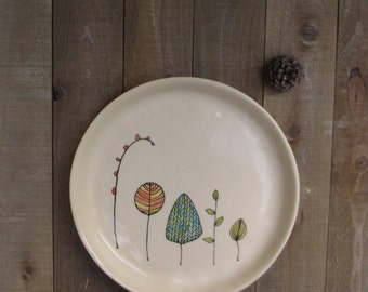 Ceramic leaf plate, foliage dish, fall leaf plate, hand drawn, small plate for her, woodland home decor.