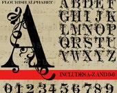 Flourish Letter svg, Monogram  Letter SVG,  Flourish svg Font, Monograms,  SVG, Vector, ai,png, eps,dxf, Wedding Monogram, Silhouettes