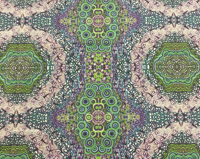 Original purple green and turquoise butterfly and circle Fabric with by Cindy Watkins  cotton