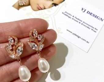 Rose Gold Bridal Earrings, Pearl Drop Earrings, Gold Wedding Earrings, Cz Bridal Jewelry, Something Blue Earrings, Bridesmaid Gift, BRANDI
