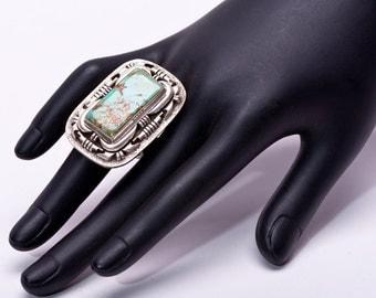 BIG Modern Navajo Turquoise Ring - Sterling Cast 9- sz 7 1/2 Adjustable