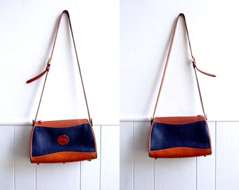 Vintage Dooney and Bourke Crossbody Bag // All Weather Leather // Navy and Brown