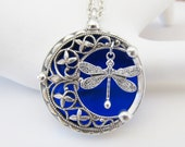 Silver Necklaces Women's Necklaces Dragonfly Moon Necklace Dragonfly Pendant Stained Glass Jewelry
