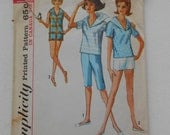 Vintage 60s Overblouse with Sailor Collar, Shorts and Pants Pattern Simplicity 5386 Size 18 Bust 38