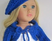 18in doll outfit blue beret shrug and shoes hand crochet doll clothes