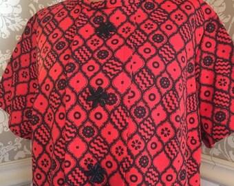 GBYE SUMMER SALE Vintage 60s Black and Orange Mod Dress Large Flower Buttons M