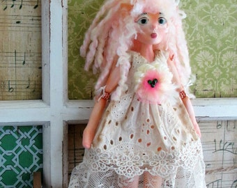 Kitty Girl, doll ornament clay puppet art doll, handmade in the USA