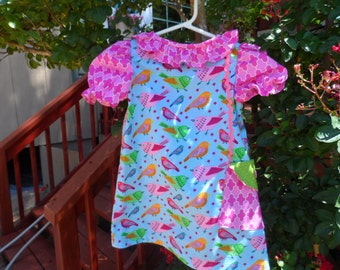 Let's Go Shopping Girl's Dress Pocket Boot Sizes 3-8 Handmade Blue and Pink