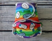 One Size Stay Dry Overnight Fitted Cloth Diaper in Rainbow Cranky Clouds