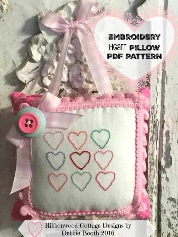 PDF Embroidery Heart Pillow  Pattern