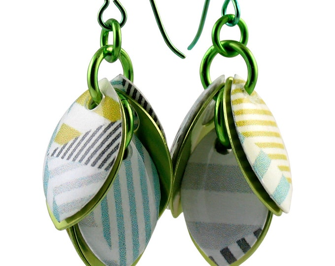 Custom Handcrafted Pastel with Black Summer Dangle Earrings