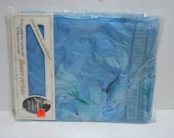Vintage Josephs Shower Curtain in Sealed Bag NOS Fish Design Nice Sea Blue Colors Bubbles Ocean Beach Design